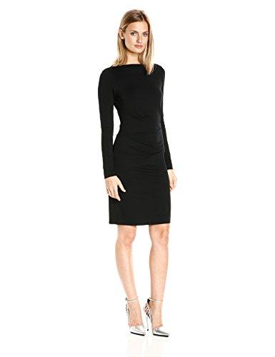 Nicole Miller Women's Quinn Solid Jersey Long Sleeve Tuck Dress, Black, Large