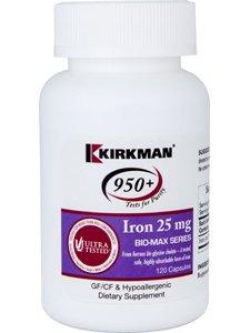 Kirkman Labs - Iron Bio-Max Series 25mg 120 caps (Minerals Iron 120 Caps Free)