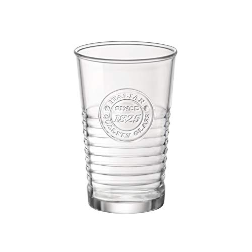 Vintage Juice Glass - Bormioli Rocco Officina Water Glasses - Set Of 4 Clear Drinking Tumblers With Textured Ring Design & Vintage Stamp Logo - 11oz High Capacity Tall Cups For Soda, Juice, Milk, Coke, Beer, Spirits