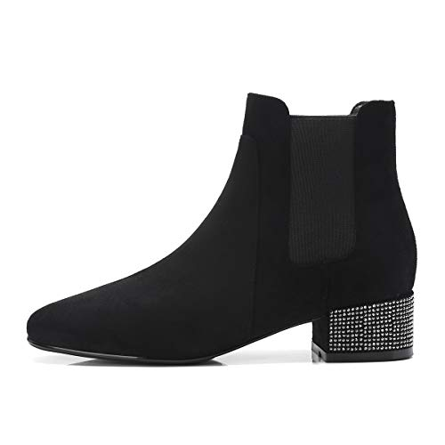 Elegantes Chelsea Zapatos Mujer Negro Ancho Botines Tacon Annieshoe Botas Otoño wEqIXX