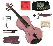 Merano 14'' Pink Viola with Case and Bow+Extra Set of Strings, Extra Bridge, Shoulder Rest, Rosin, Metro Tuner, Black Music Stand, Mute