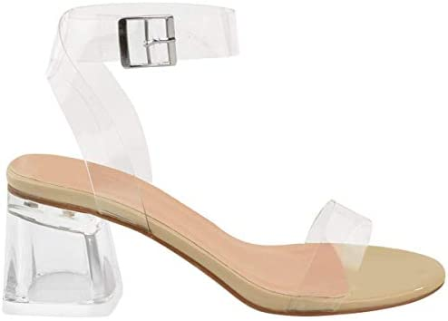 Womens Low Block Heel Glass Perspex Party Sandals Strappy Nude Barely There Size