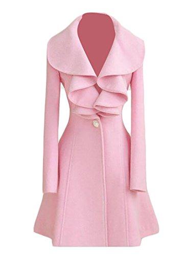 M2MO Womens Chic Long Sleeve Solid Slim Ruffles Elegant Outwear Pea Coat Pink US L