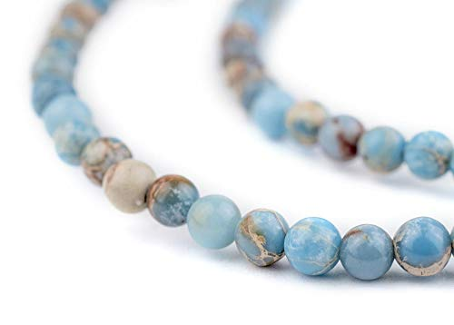 TheBeadChest Carolina Blue Sea Sediment Jasper Beads (4mm): Organic Gemstone Round Spherical Energy Stone Healing Power for Jewelry Bracelet Mala Necklace Making