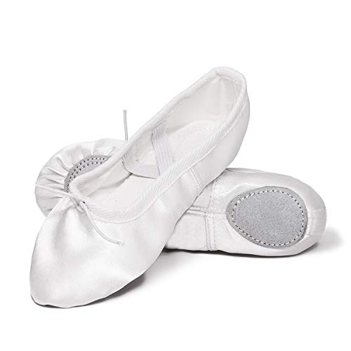 XJX Satin Ballet Shoes for Girl Leather Split Sole Dance Slippers Yogu Shoes White 38