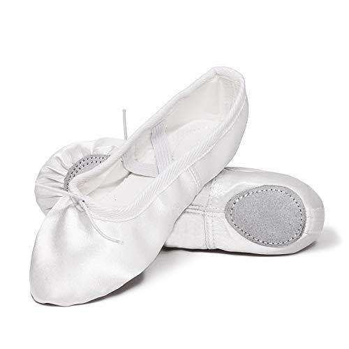 XJX Satin Ballet Shoes for Girl Leather Split Sole Dance Slippers Yogu Shoes White 29]()