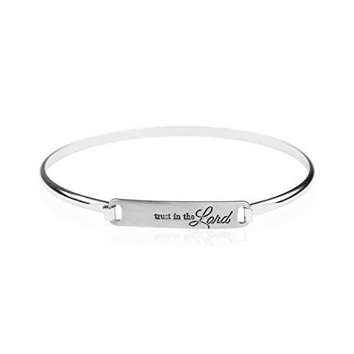 (Inspirational Quote Bar Metallic Bangle - Geometric Cuff Bracelets Message Plate/Christian Bible/Religious/Amazing Grace/Blessed/Faith/Rhinestone Cross/Lucky Clover/Tribal Arrow (John 3:16 -)