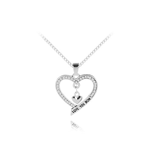 Gift for Mom Mother I Love You Mom Love Heart Pendant Necklace Mother's Day Gifts (10 Dollar Necklaces)