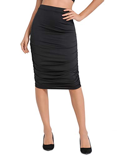 (Lomantise Ruched Pencil Skirt Bodycon High Waist Midi Versatile US 10/12 Black)