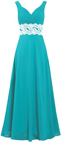 ANTS Women's Chiffon Lace Tank Long Bridesmaid Prom Dresses Gown Size 26W US Turquoise
