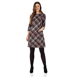 Roman Originals Women Check Shift Dress – Ladies Tartan Plaid Print Winter Smart Work Office Casual Formal Party Comfortable Tunic 3/4 Sleeve Knee Length Smock – 1 – Red – Size 12
