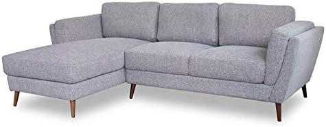 ASHCROFT Mid-Century Modern Sadie Gray Sectional Sofa Left Chaise