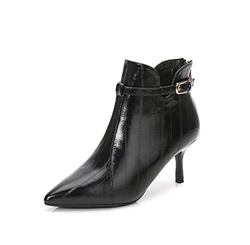 女性の靴秋と冬の新しいショートブーツ女性細いマーティンブーツヨーロッパと米国のファッションぬいぐるみ裸のブーツの女の子を指摘,Black,220JP