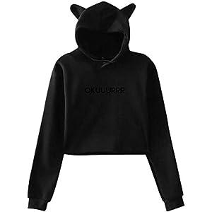 engzhoushi Women Sweatshirt Pullover Hoodie, Cat Ear Hoodie Sweater Women S Cardi Okuuurrr B Lumbar Sweatshirt Hooded…