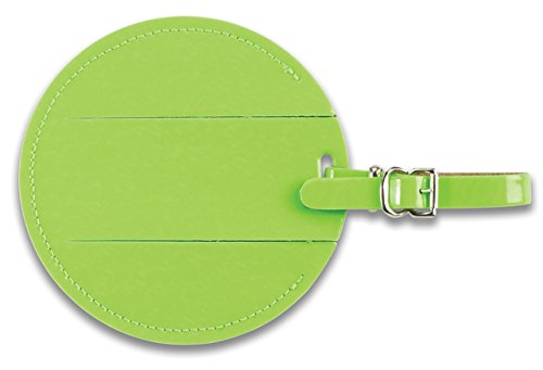 Lewis N Clark Round Neon Tag with Closed Security Flap, Green, One (Green Neon Luggage Tag)