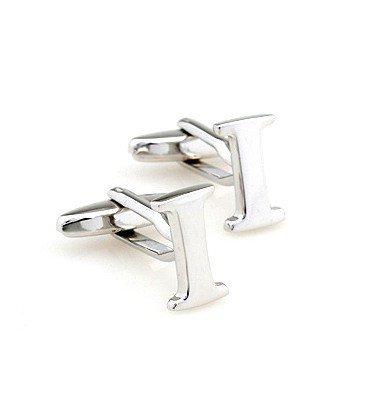 Az Capital Letters ((I) Initial Cufflinks Personalized Silver Colour Capital Alphabet (A-Z Available) Letter Cufflinks Men Women Cuff Links (I))
