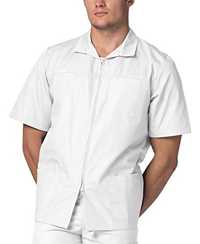 (Adar Universal Men's Zippered Short Sleeve Jacket (Available in 7 Colors) - 607 - White -)