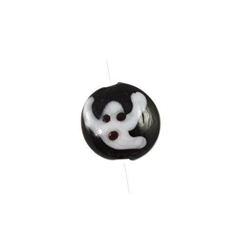 Lampwork Glass Ghost Coin Bead 18x8mm - Lampwork Beads Coin Glass