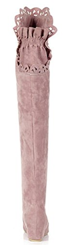 IDIFU Womens Sweet Lace Spliced Wedge Heighten Over Knee High Boots Pink 8lvE5ABC