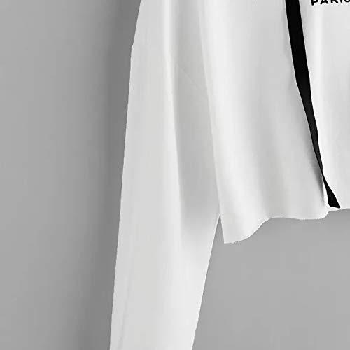 a Casual maniche Felpa Donna Felpa Camicetta in Adeshop Top maniche puro maniche lunghe a lunghe cappuccio con Fashion colore con moda a con lettera Abiti Bianco alla Camicia autunnali Camicia stampa 7wRwO8