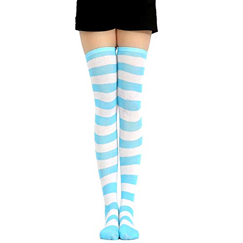 COSPROFE Japanese Women's Over Knee Striped Socks Thigh High Long Casual Tube Cosplay Stockings (Blue+White Wide)