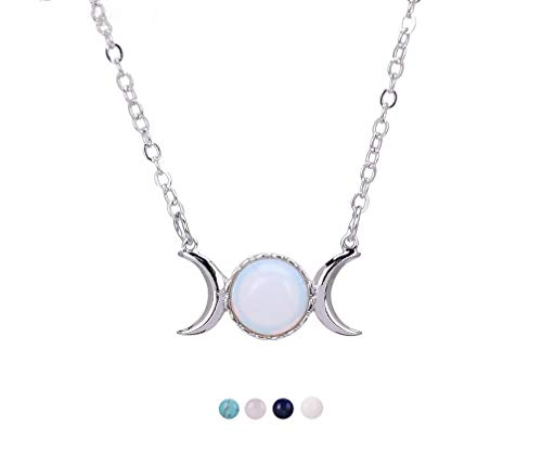 - Triple Goddess Moon Symbol Pendant Necklace Opal Healing Crystal Natural Stone Sailor Moon Pendant for Women-Opal