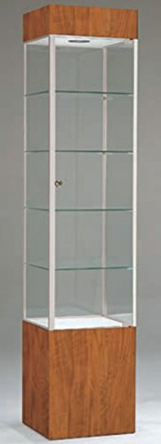 Tower Glass Display Cabinet Assembled Showcase Retail Fixture Cherry/Chrome US Made 75''H x 16''W NEW by Bentley's Display