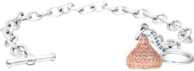 Hersheys Kiss Jewelry Sterling Silver Large 3D Shaped Bracelet with One Breast Cancer Ribbon Charm