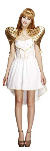 Smiffys Women's Fever Glamorous Angel Costume, Dress, Attached Underskirt, Headband and Wings, Christmas, Fever, Size 10-12, 43510