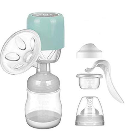 Electric Breast Pump Portable Single Breastfeeding Pump Breast Milk Silicone Pacifier Upgraded Large Suction 9 Levels Rechargeable USB Charging BPA-Free Super-Quiet with Touch Screen (Green)