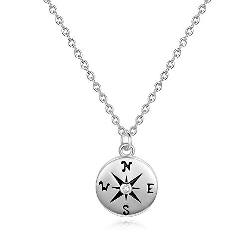 (Graduation Gifts Compass Necklace for Women - White Gold Plated Disc Compass Pendant Inspirational Gifts Necklace Graduation Gifts for Women Girls, Dainty Graduation Necklace Best Inspirational Gifts)