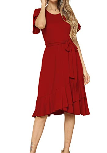 Womens Casual Swing Loose Midi Party Dress with Belt Red XL