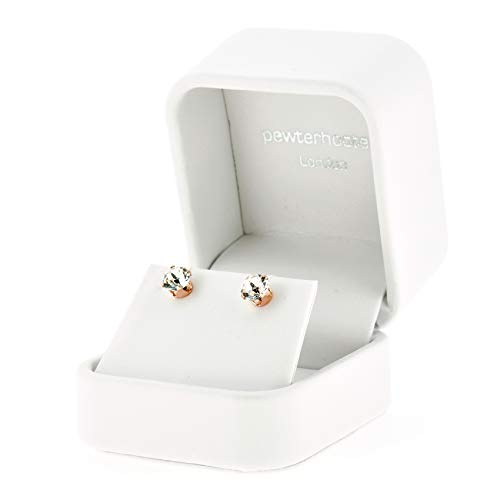 pewterhooter 18ct Rose gold on 925 Sterling silver stud earrings for women made with sparkling Diamond White crystal from Swarovski. Luxury white jewellery box. Hypoallergenic & Nickle Free Jewellery