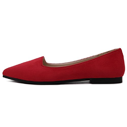 Ballerina Comfort Women's Soft Ballet Slip Flats Red Toe Shoes Meeshine Classic Suede On Pointy Flat 1CqCz