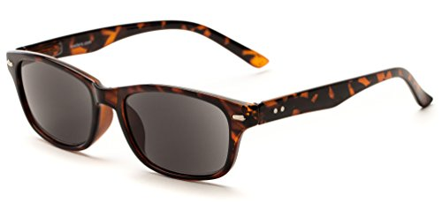 Readers.com The Key West Sun Reader +1.00 Tortoise with Smoke Classic Sunglass for Men & Women UV-Protected Retro Square Reading Glasses