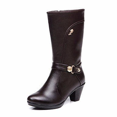 RTRY Zapatos De Mujer Invierno Botas De Cuero Auténtico Confort Chunky Talón Puntera Redonda Mid-Calf Botas Para Casual Negro Marrón US5.5 / EU36 / UK3.5 / CN35