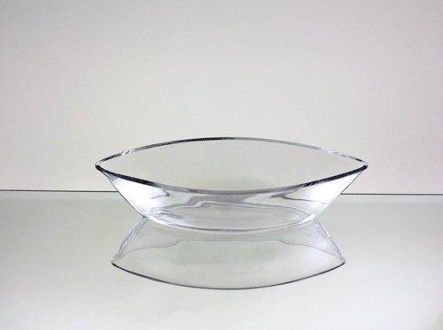 "Clear Long Boat Glass Vase / Holder. Length: 11"". Width: 3.4"