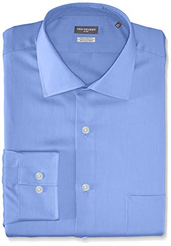 Van Heusen Men's Flex Collar Regular Fit Solid Spread Collar Dress Shirt, Periwinkle, 16.5