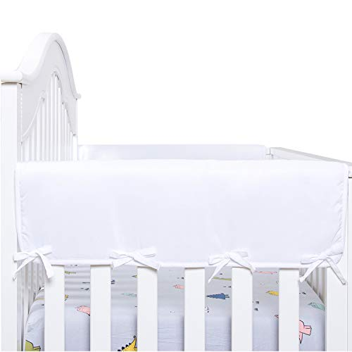 White Color Belsden Microfiber Reversible Crib Rail Cover 3 Pieces Set for 1 Long and 2 Side Rails Measuring up to 8 inches Around Durable Padded Baby Teething Guard and Chewing Protector