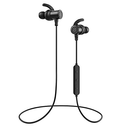 SoundPEATS Magnetic Wireless Earbuds Bluetooth Headphones Sport in-Ear Sweatproof Earphones with Mic (Super Sound Quality, IPX6, Bluetooth 4.1, aptx, 8 Hours Play Time, Secure Fit Design) (Black) - Choose Adapter Finish