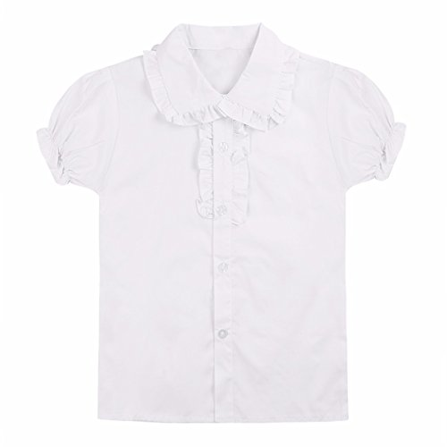 Puff Top Sleeve Girls - FEESHOW Big Girls' School Uniforms Oxford Short Puff Sleeve Dress Shirt Blouse Tops White 4-5