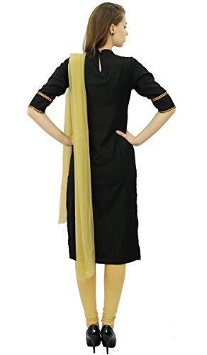 Straight Atasi Suit amp; Set Indischen Beige Baumwolle Frauen Readymade Freizeitkleidung Schwarz 6EZwrq6