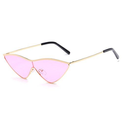 sol una Aiweijia Dorado de verde dama mujer gafas de gafas Triangle pieza mujeres gato sol de Rosa metal uv400 lente ojo de pequeñas rosa wqqOtgr