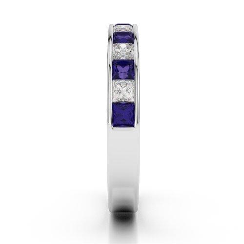 G-H/VS 0,98CT Coupe ronde Certifié tanzanite et diamants en platine 950Agdr-1136