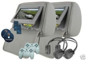 "Plexon™ - Headrest 7"" LCD Car Monitors with Region Free DVD player USB SD Inc. Wireless Headhones and 32 Bit Games (Gray, Pair)"