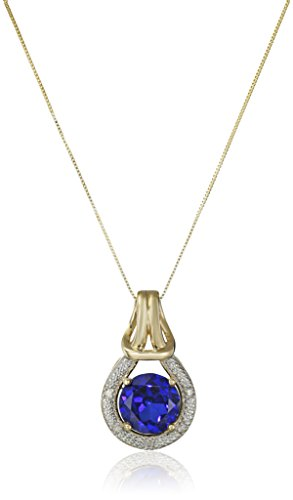 10k Yellow Gold Created Blue Sapphire and Diamond Accent Love Knot Pendant Necklace, 18