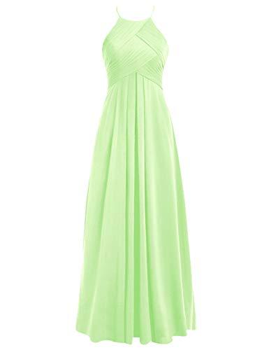 Ballkleider 40 Brautjungfernkleider Hochzeitskleider A Abendkleider Chiffon Lang Neckholder Rückenfrei Linie Mint qUTFUA
