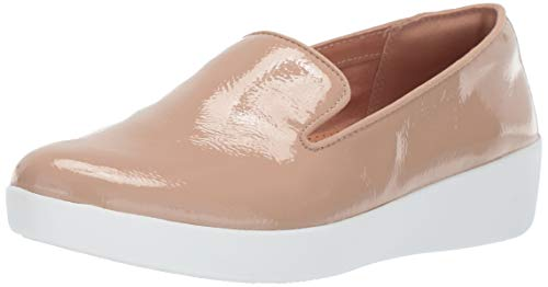 FitFlop Women's Audrey Crinkle-Patent Smoking Slippers Loafer Flat, Taupe, 8 M US - Footwear Taupe Patent