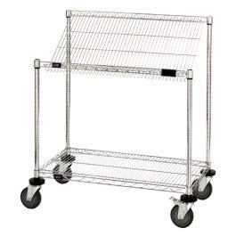 (Quantum Storage Systems M2436SL34C 2-Tier Wire Shelving Work Station Cart with Slanted Top Shelf, Chrome Finish, 36