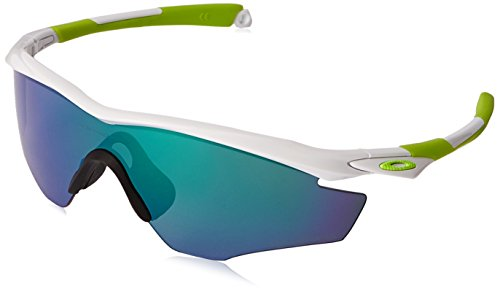 Oakley Men's M2 Polarized Iridium Shield Sunglasses, White Fingerprint, 145 - Sunglasses Green White And Oakley